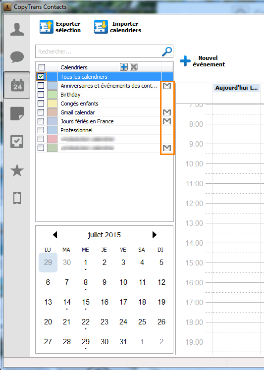 calendriers gmail