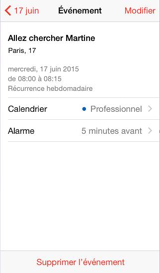 événement récurrence alarme iphone