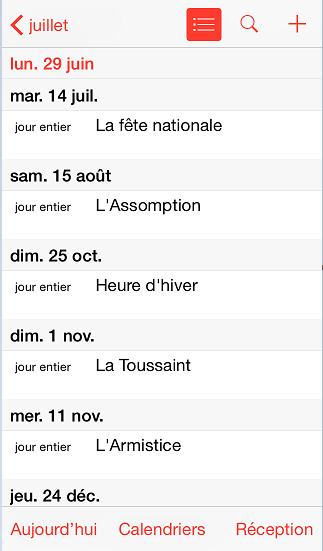événements calendrier Google ios