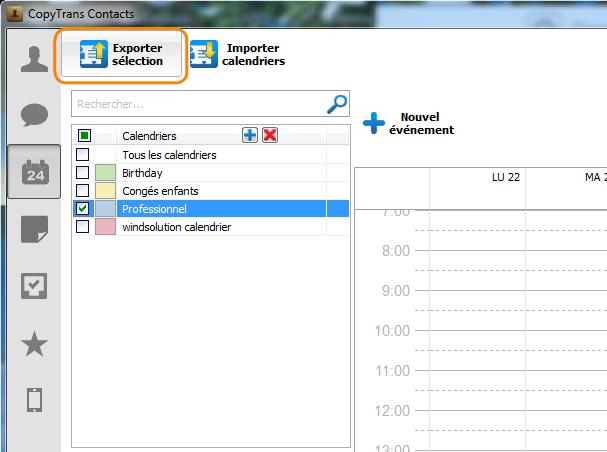 exporter sélection calendrier