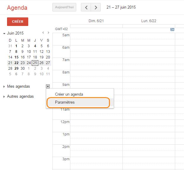 accédez à votre Google agenda