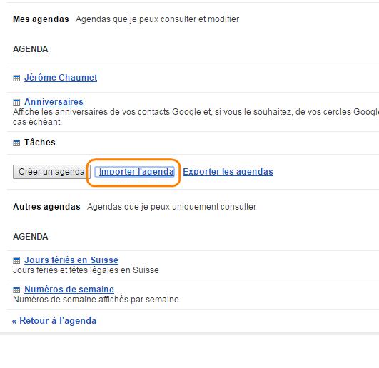 importer calendrier dans google agenda