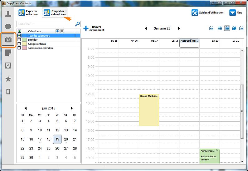 Importer calendrier iphone ipad ipod
