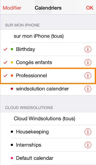 calendrier exporté vers l'iPhone