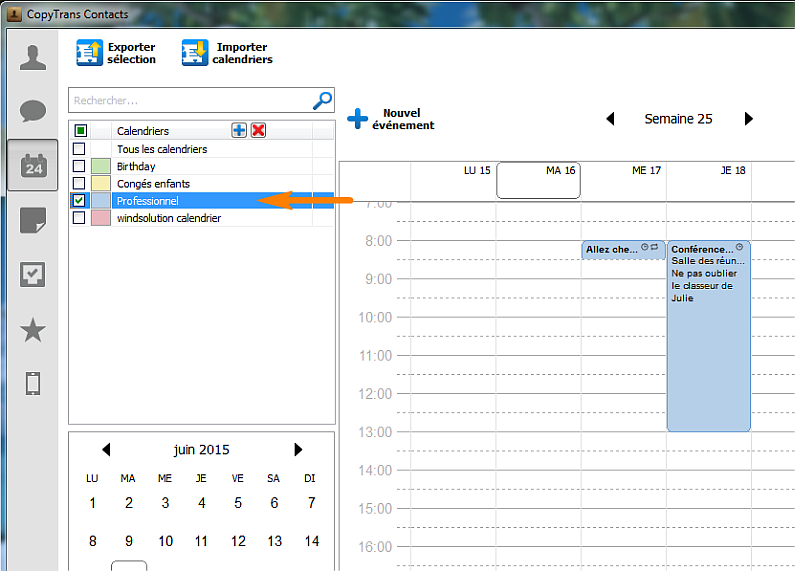 sélection calendrier iphone