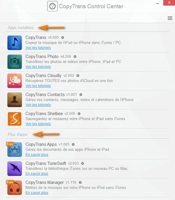 Quelles sont les applications CopyTrans installées sur votre ordinateur ?