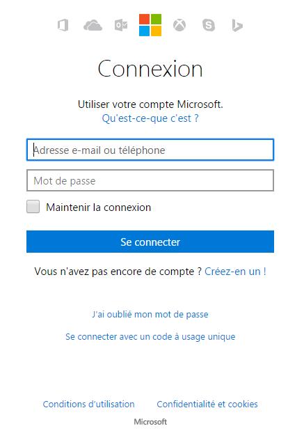 Connexion à un compte Microsoft
