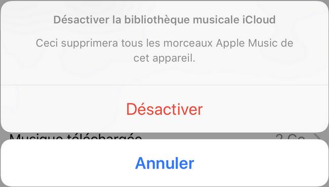 Désactivation de la bibliothèque musicale iCloud