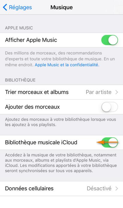 désactiver la bibliothèque musicale iCloud sur iPhone