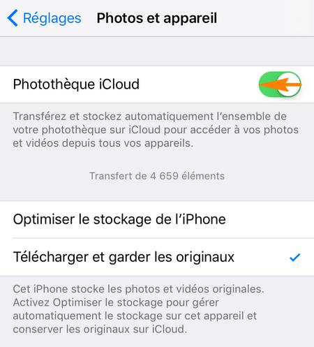 désactiver la Photothèque iCloud et télécharger les photos originales sur iPhone