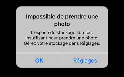 libérer de l'espace sur l'iPhone pour prendre photos