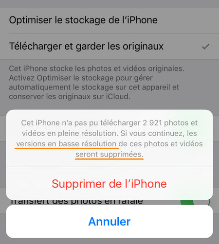 supprimer les photos iPhone en basse résolution