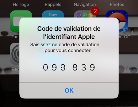 code de validation affiché sur iPhone
