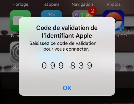 code de validation affiché sur iPhone