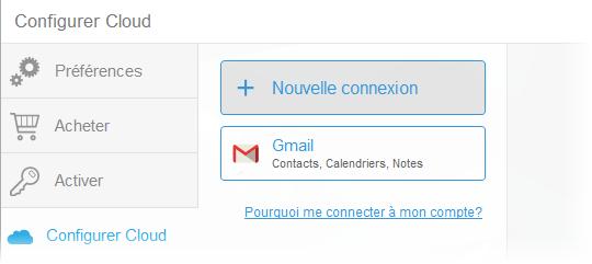 connexion à Gmail réussie dans CopyTrans Contacts