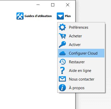 Configurer cloud dans CopyTrans Contacts