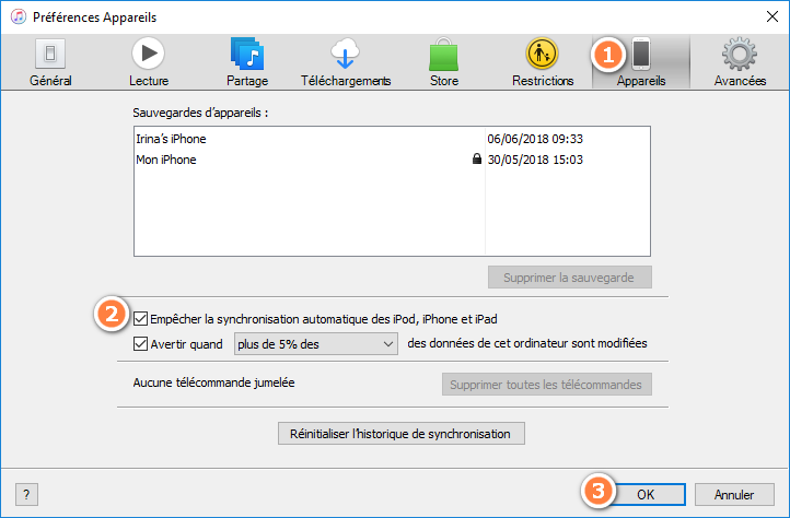 Ne pas synchroniser avec iTunes