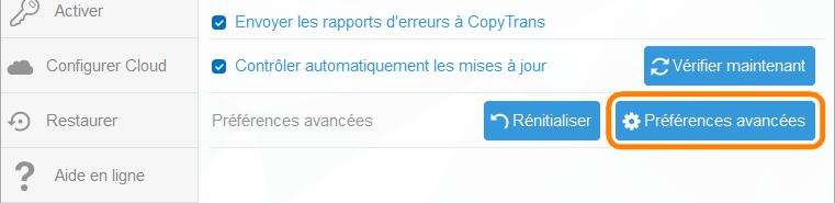 Préférences avancées de CopyTrans Contacts