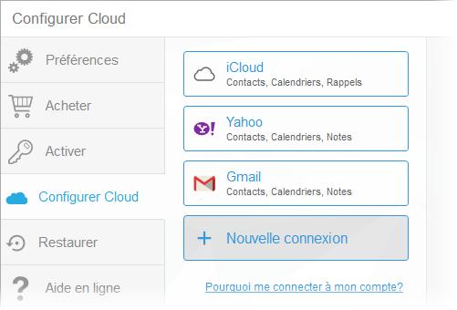 connexion cloud réussie dans CopyTrans Contacts