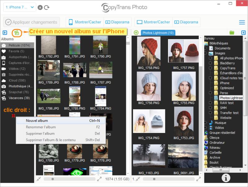 créer un album photos sur iPhone depuis le PC