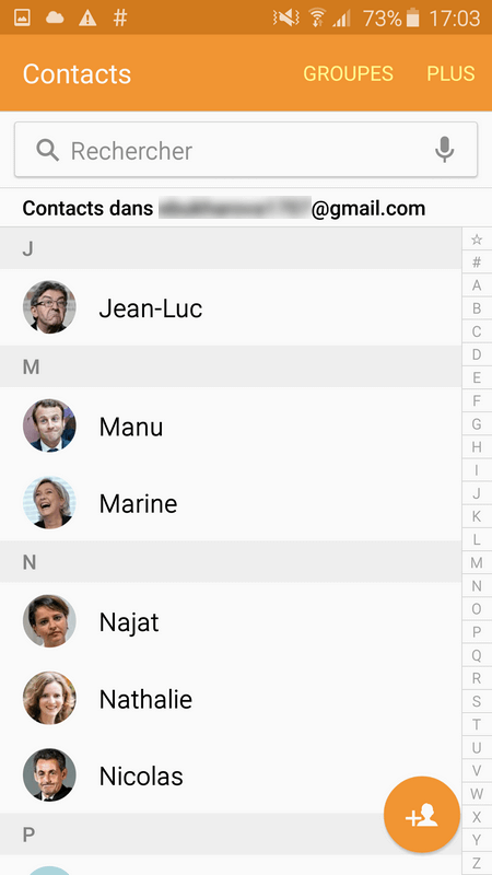 contacts iphone copiés dans samsung