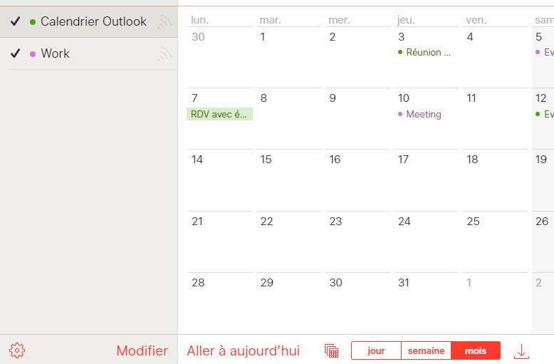 Affichage calendrier Outlook dans iCloud