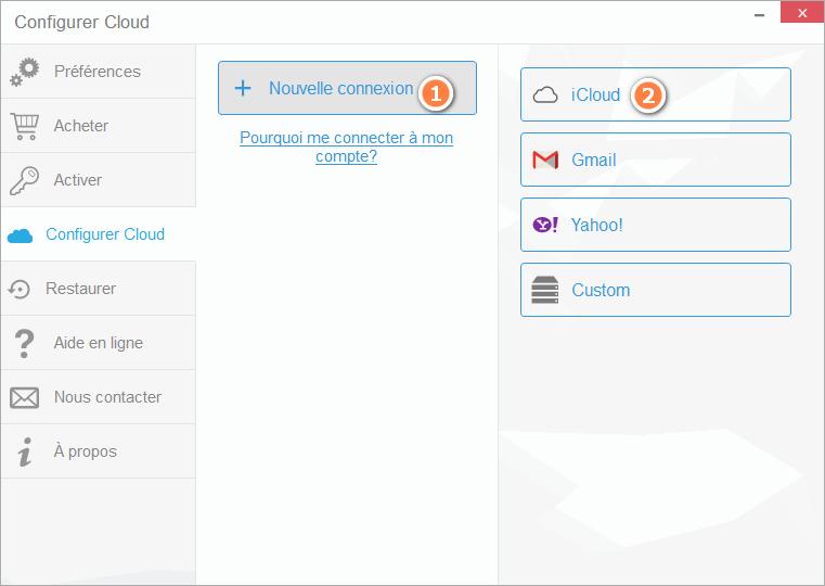 Connecter compte iCloud avec CopyTrans Contacts