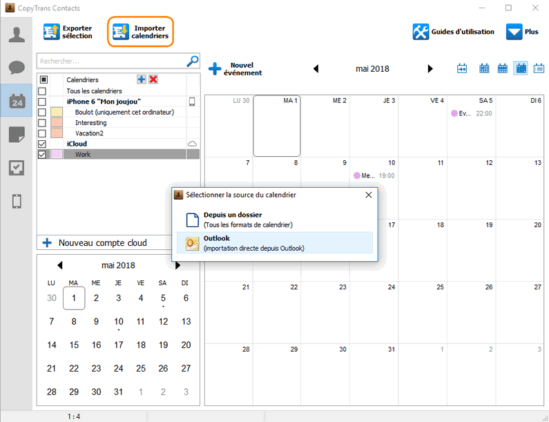 Importer calendriers Outlook