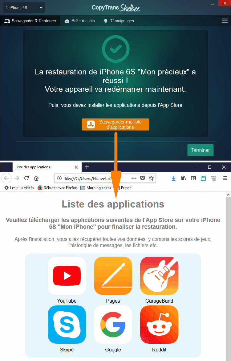 Restaurations des apps iPhone