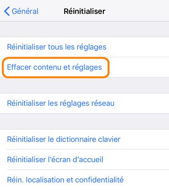 Réinitialiser iPhone