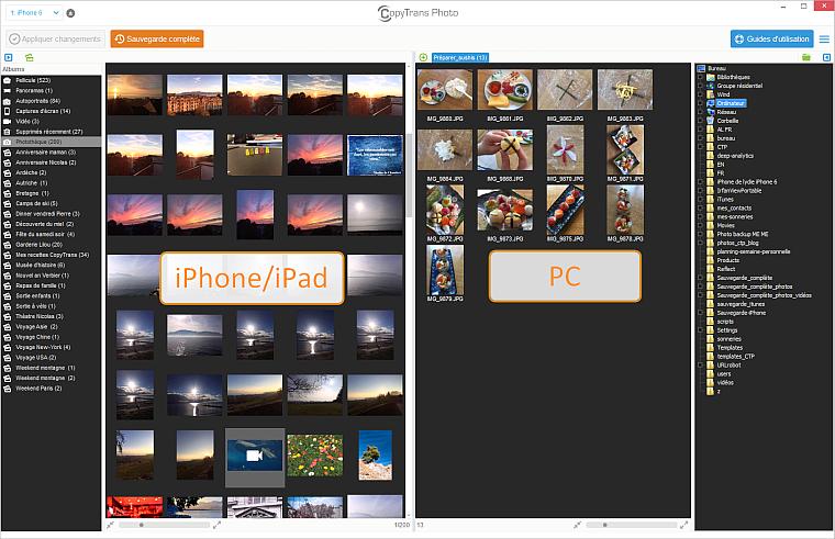 CopyTrans Photo affiche vos photos de l'iPhone sur le PC
