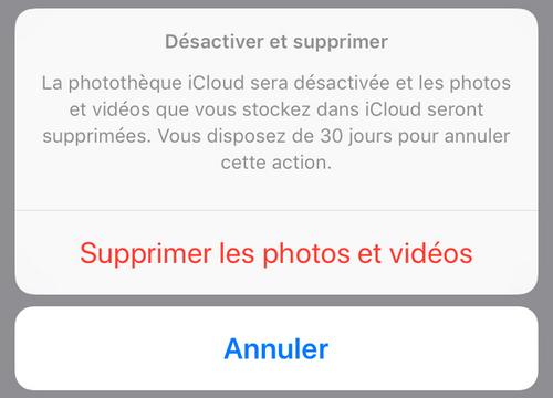 Confirmer désactivation d'iCloud