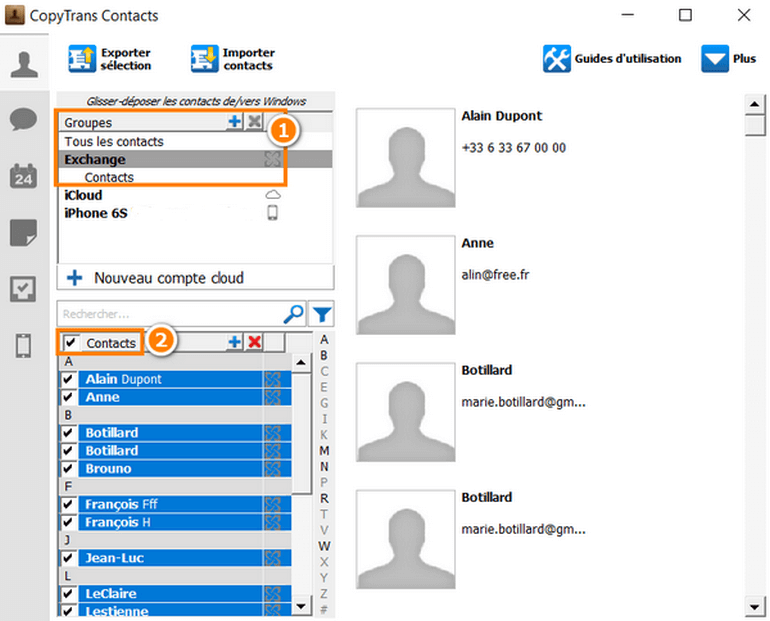 Exporter contacts exchange sur le PC