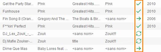 Les chansons à synchroniser avec iTunes