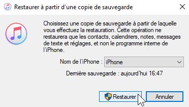 Restauration de l'iPhone à partir d'une sauvegarde récente d'iTunes.