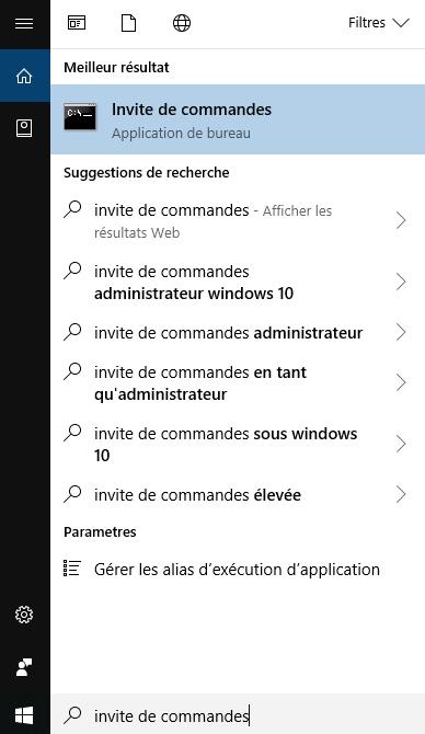 Rechercher la ligne de commandes Windows