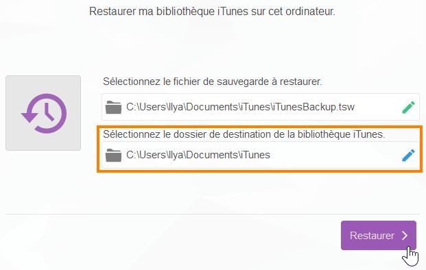 Choisir l'emplacement pour la nouvelle bibliothèque iTunes