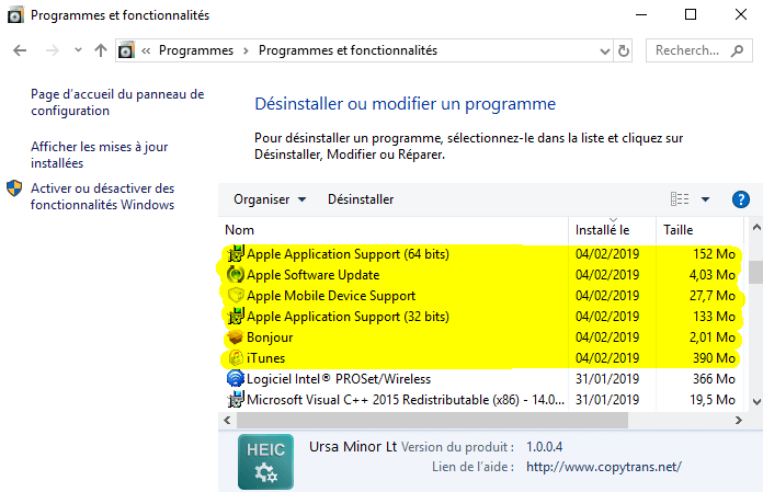 Désinstaller manuellement les applications Windows
