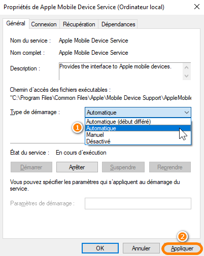 Lancer le service Apple Mobile Device en automatique