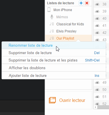 Renommer ou supprimer liste de lecture Apple Music