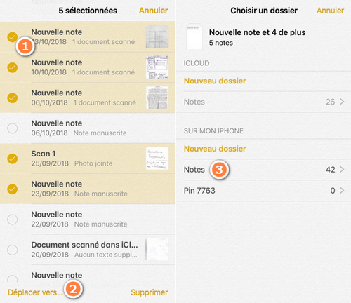 D2plqcer notes iCloud vers iPhone