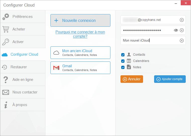 Connecter un autre iCloud