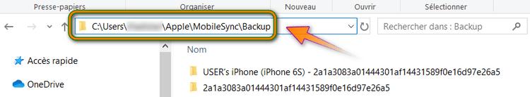 Chemin des sauvegardes iTunes dans Windows