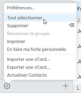 choisir tous les contacts icloud