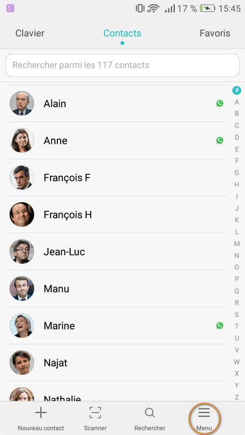 Contacts dans carnet d'adresse Android