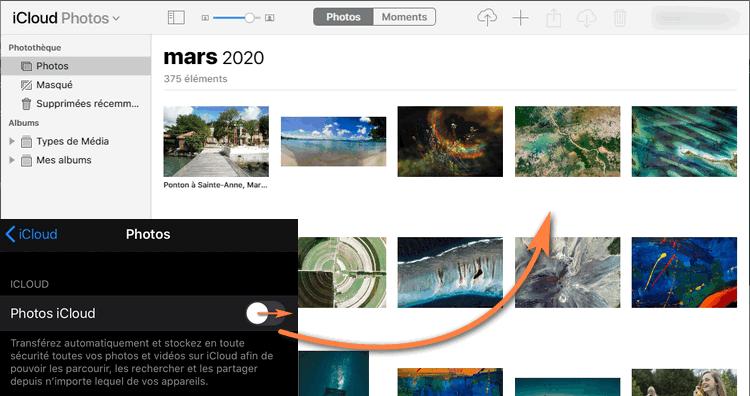Photos iPhone stockées dans iCloud