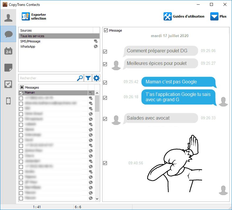 Lire une conversation SMS iPhone sur le PC
