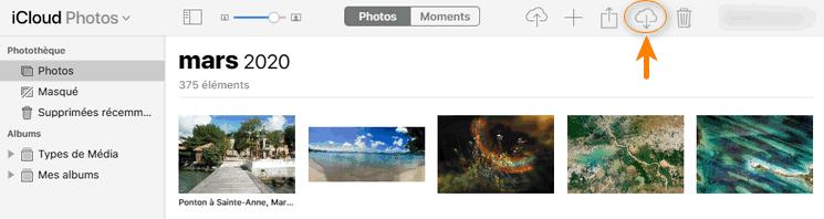 Télécharger les photos depuis icloud.com