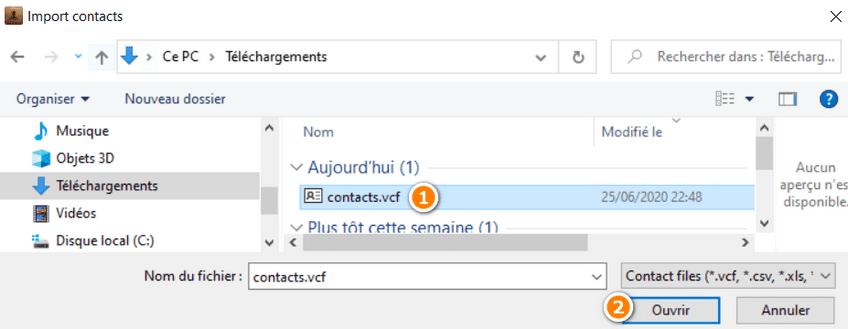 Choisir un fichier de contacts VCF