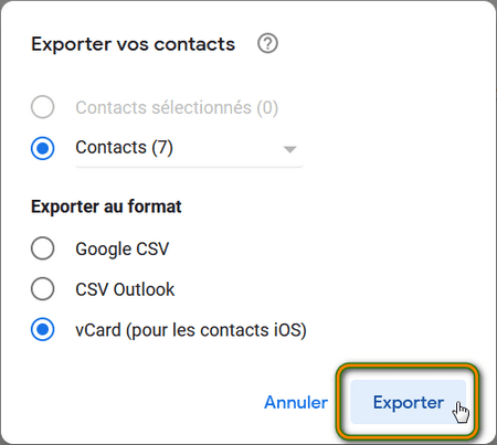 Exporter ses contacts au format vCard